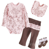 Wholesale girls embroidery romper suits bibs pp pants bodysuits pp warmers socks jumpsuits tracksuits YXQ52