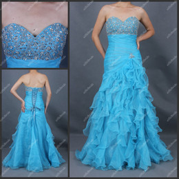 Wholesale ST057 Evening Dress Bule Straples Beaded Waterfull A Line Lace Up Ruches Long Fashion Prom Dress