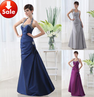 Wholesale Gray Blue Purple Halter Cheap Sexy Beads Taffeta Long Prom Formal evening dresses Gowns SD005
