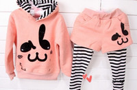 Wholesale retail Fashion design girl s cartoon pattern hoodies cross stripe pants spring autumn wear suits