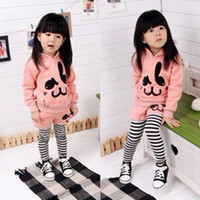 Wholesale Fashion design girl s cartoon pattern hoodies cross stripe pants girl s spring autumn wear suits