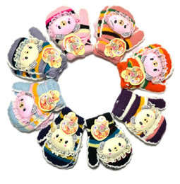 Wholesale 2012 Winter New style Girl s Winnie colorful with lanyard velvet warm gloves Boy s Gloves amp Mittens