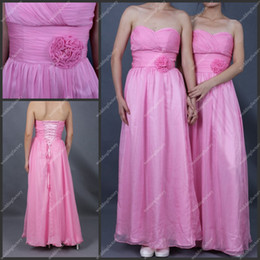 Wholesale Ankle Length Chiffon Ruffled Pink Lace up Back Glamorous Bridsmaid Dresses with Handmade Flowers