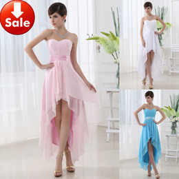 Wholesale 2015 Cheap Short front long back Blue Pink In Stock White Pink Sky Blue Beading Chiffon Homecoming Party Prom dresses th Junior Graduation