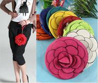 Wholesale Camellia Rose Flower Wristlet Purse Satchel Handbag Evening Coin Bag Cell Pouch