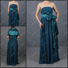 Wholesale ST084 Mother Of The Bride Dress Strapless Sash Big Bowknot Ruffles Long Formal Dress With A Wrap