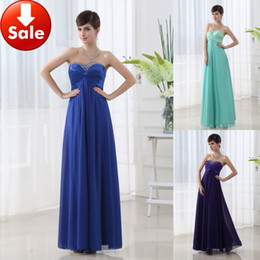 Wholesale Cheap In Stock Under Royal Blue Sweetheart A Line Chiffon Beads Long Prom Dresses SD003