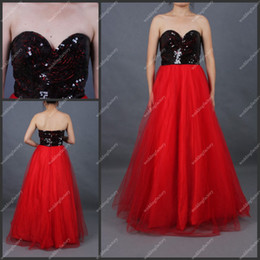 Wholesale Tulle Red A Line Sweetheart Floor Length BlackNo Risk Shopping Sequined Party Dresses Prom Dreses