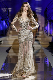 Sexy Sheer Sparkly Tulle Gold Crystal Long Sleeves V-neck Backless Beauty Zuhair Murad Long Evening Prom Dresses ZH001