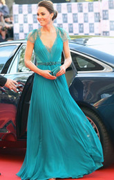Wholesale 20131010 Sexy V Neck Cap Sleeves Hunter Blue Evening Dresses Kate middleton Jenny Packham Green Celebrity Dresses