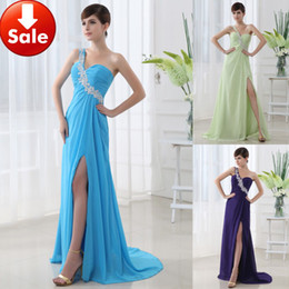 Wholesale Cheap In Stock Under Blue One Shoulder Chiffon Appliques Long Prom Dresses Party Gown SD012