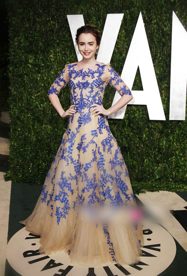 Lily Collins Oscar Party Gorgeous Emboidery Celebrity Inspired ...