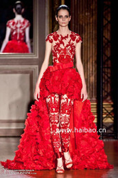 Red Hi-Lo Short Sleeves High Quality Lace Beauty Design Zuhair Prom Dresses ZH059