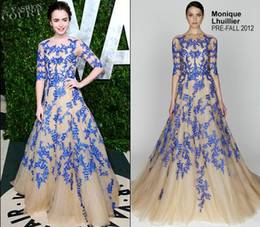 Wholesale Lily Collins Oscar Party Gorgeous Emboidery Celebrity Inspired Designer Gowns Long Sleeves Dresses