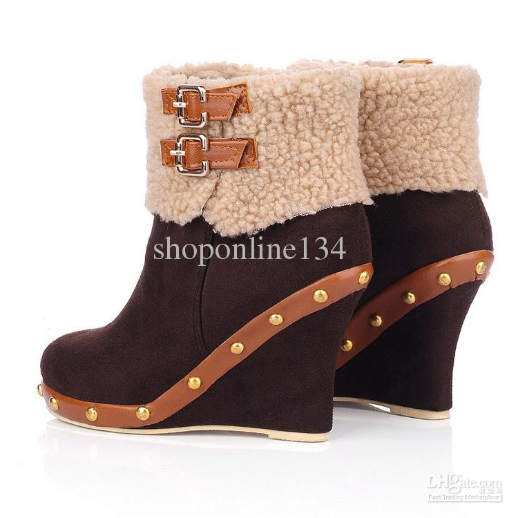 Fashion Wedge Boots Boots Women's Boots Sexy Martin Boots Brown ...