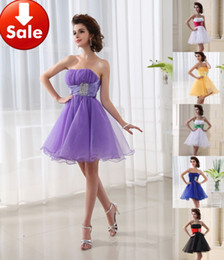 Wholesale 2015 Lilac Pink Black Blue White Yellow Strapless Beads Organza Short Homecoming Party Prom dresses