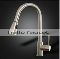 Wholesale new Kitchen Sink Faucet Brushed Nickel Pull Out Dual Spray Single Handle FH65