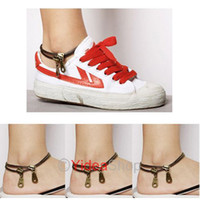 Wholesale 4pcs Free PP Rock Punk Goth Double Layer Bronze Zipper Anklet Foot Chain cm