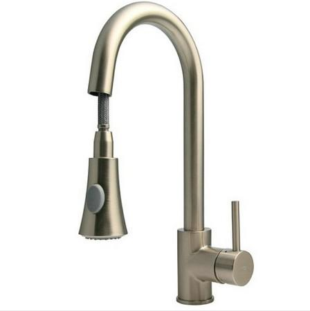 2017 New Kitchen Sink Faucet Brushed Nickel Pull Out Dual Spray