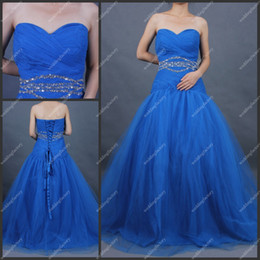 Wholesale Sweetheart A Line Floor Length Tulle Beaded Ruffled Royal Blue Lace up Back Party Dresses Prom Gowns