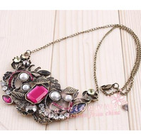 Wholesale MIC Antique Bronze Plated Flower Rhinestone Retro Necklace Chains