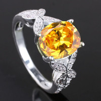 With Side Stones Women's Party Women's Nal Simulated Butterfly Oval Cut Yellow Citrine Genuine 925 Sterling Silver Ring Sz 6 R077
