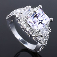 With Side Stones Women's Wedding Ladies CZ Nal Faux Gorgeous Oblong White Topaz Authentic 925 Sterling Silver Ring R057