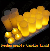 Wholesale 12PCS Rechargeable Candle Lamp LED Lights Realistic Bar Coffee Tea Candles for candle dinner Retail