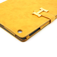 Wholesale High Quality Frosted Synthetic Leather Leather Case w Back Cover for Apple iPad Yellow