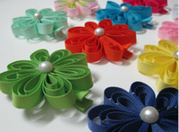 "Cheap hot sell 2"" baby hair clips Girl hair bows flowers hair accessories hair clip grosgrain ribbon"