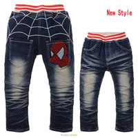 Wholesale Cartoon Spiderman applique boy jeans spider man cowboy pants children washed denim trousers
