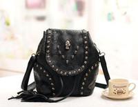 Black Women Plain black skull rivet sling shoulder bag tote Handbag backpack party Designer Lady girl's Fashion