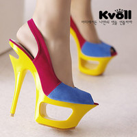Wholesale Kvoll hot selling sexy high heels shoes sandals colors fashion women platform sandal
