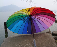 Wholesale Very beautiful rainbow Umbrella sun umbrella Rain Umberlla Parasol For Wedding Party Favor