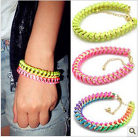 Wholesale Fluorescence Wrapped Braid Punk Rope Metal chain Bracelet Neon Line Friendship