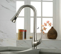 Wholesale new Kitchen Sink Faucet Brushed Nickel Pull Out Dual Spray Single Handle FH74