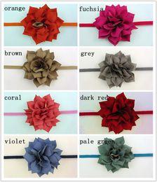 Two-Tone Fabric Flowers Headband Elastic Hair Band Newborn Photography Props Baby Nylon Headband 120PCS LOT BY QueenBaby