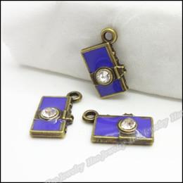 Charm Camera Crystal Purple Pendant Antique bronze Alloy Fit Bracelet Necklace Metal Jewelry 100pcs. size: 15x9x3