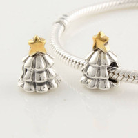 Wholesale Authentic Sterling Silver amp GP Star Thread Christmas Tree Bead Fits European Pandora Jewelry Charm Bracelets LW023