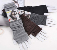 Wholesale Half finger gloves Girls long knit Fingerless Gloves Wristbands