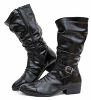 Wholesale Pointed Toe Wrinkles Men s Knee High Boots Black Brown Punk Buckle Side Zipper Outdoor Winter Shoes