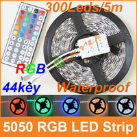 Wholesale RGB LED Strip SMD leds M reel waterproof flexible strip keys remote controller DC12V