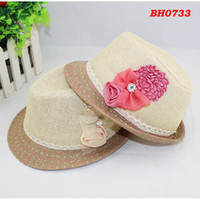 Wholesale Children Summer Fedora Hat Girls Flower Jazz Cap Baby Hat Kids Straw Cowboy Hat Straw Cap Baby Dicer