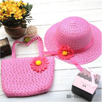 Wholesale Soft Straw Baby Girls Summer Sun Hat with Bag Baby Hat Big Brim Sunbonnet Kids Flower Caps