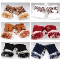 Wholesale Beautiful Rabbit Fur Gloves Lady s Winter Fingerless Mixed color Half fingers Glove