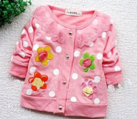 Wholesale 2012 baby soft cotton Sweet flower coat girl s long sleeved contracted cardigan o neck upper outwear