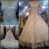 Wholesale 2014 Dazzing Deep V neck Luxury A line Beaded crystals off the shoulder Silm Wedding Dresses