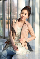 Wholesale 2012 New Autumn and Winter Women s Zipper PU Leather Jacket Lady Coat Outerwear Pink Black M L
