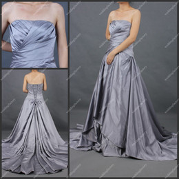 Wholesale Silver A Line Strapless Sweep Train Length Taffeta Ruffled Lace up Back Ladies Evening Dresses Gowns