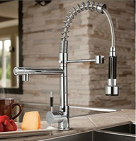 Thermostatic Faucets kitchen faucet spray - Chrome Brass Pull Out Spray Kitchen Sink Faucet Mixer Tap Single Handle FH82
